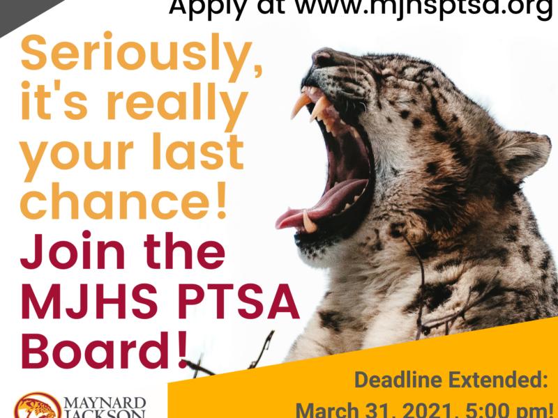Become a MJHS PTSA Board Member! Deadline is March 31