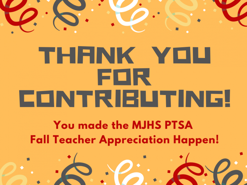 Fall 2020 Teacher Appreciation a Success! Thank You!